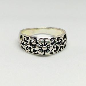 Sterling Silver Flower Filigree Swirl Band Ring